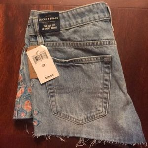 Lucky Brand embroidered cut off jean shorts denim